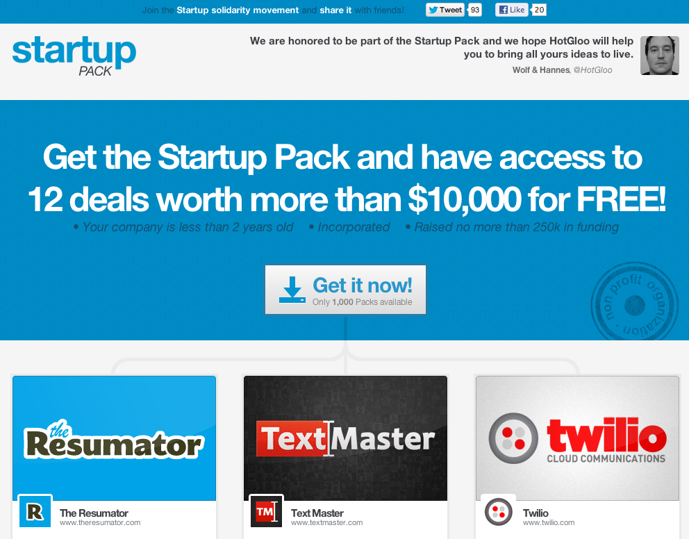 Save money (LOTS) with Startup Pack